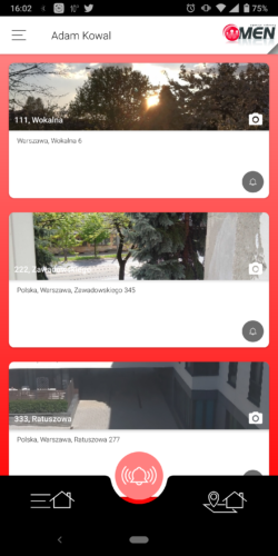 Aplikacja Aktywnego Systemu Nadzoru - widok kilku osiedli